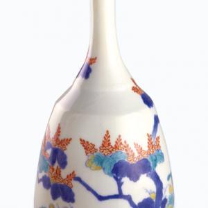 Bottiglia piriforme a collo lungo con alberello di paulonia in fiore