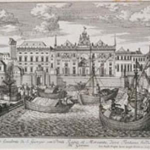 Il Ponte Reale, il Ponte nuovo della Mercanzia e il Palazzo di San Giorgio visti dal mare