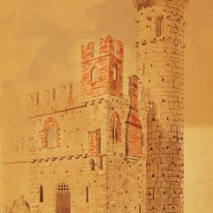 """Studio per la """"Torre Circolare"""" vista da sud"""