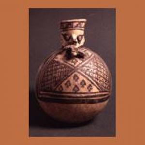 Fiasca con collo cefalomorfo, XI – XVI sec. d.C. (Chancay)