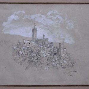 Schizzo prospettico con veduta d'insieme del castello e del bastione, da ponente