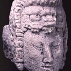Protome cefalomorfa, I-X secolo d.C. (epoca classica), Honduras, Copán, valle del fiume omonimo