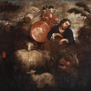 Pastore con pecore e altri animali