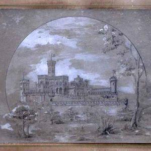 Schizzo prospettico con veduta d'insieme del castello e del parco da Sud