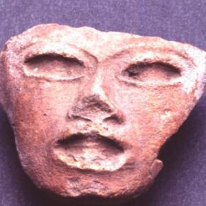 Testina antropomorfa (parte di figurina intera),   V - VI secolo d.C. (Teotihuacán III), Messico