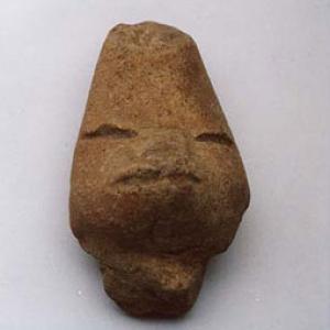 Testina antropomorfa (parte di figurina intera),  III - IV secolo d.C. (Teotihuacán II), Messico