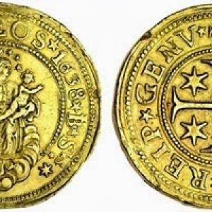 25 doppie con effigie della Madonna Regina di Genova