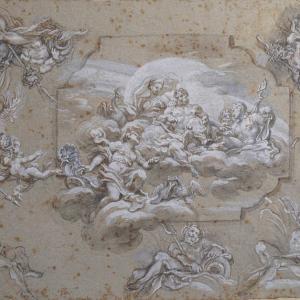 Venere intercede per Enea davanti a Giove e altri dei dell' Olimpo e sei studi per la personificazione di un fiume