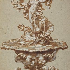 Fontana con Venere su un delfino retto da tritoni