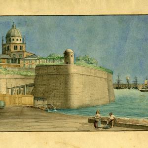 Bastione e campanile di san Tommaso, dal mare