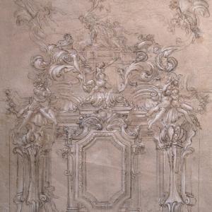 Progetto di decorazione di pareti e volta con Apollo e Dafne