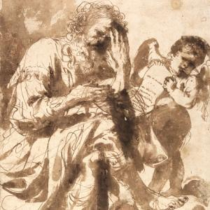 Il profeta Michea e un angioletto con un cartiglio