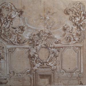 Progetto di decorazione di sala con fontana