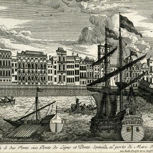 I ponti Calvi e Spinola e gli edifici di Sottoripa visti dal mare