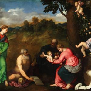 Sacra famiglia con i Santi Gerolamo, Caterina d' Alessandria e angeli
