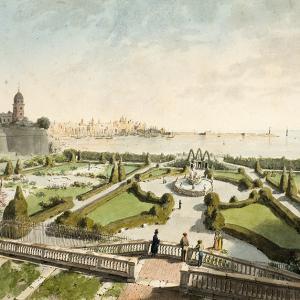 Veduta del giardino a mare del Palazzo del Principe D'Oria con la città e il porto