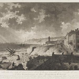 Veduta del porto di Genova, durante la tempesta, nei pressi di S. Teodoro