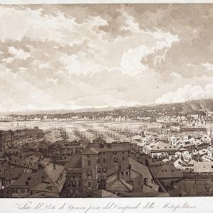 "Luigi Garibbo ""Veduta del porto di Genova presa dal campanile della Metropolitana"" ante 1825"