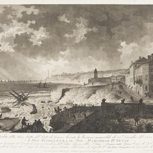 Veduta della Riva dritta del porto di Genova durante la burrasca memorabile  del 25 dicembre 1821