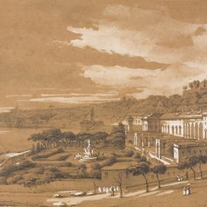 """Pasquale Domenico Cambiaso """"Veduta dei giardini di Palazzo del Principe a Fassolo, presa dal bastione di San Tomaso"""", ante 1849"""