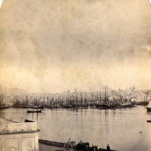 Il porto di Genova nel 1865: particolare della Darsena
