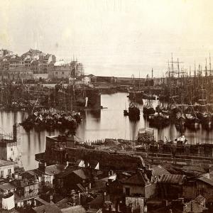 Il porto di Genova nel 1884: particolare della Darsena